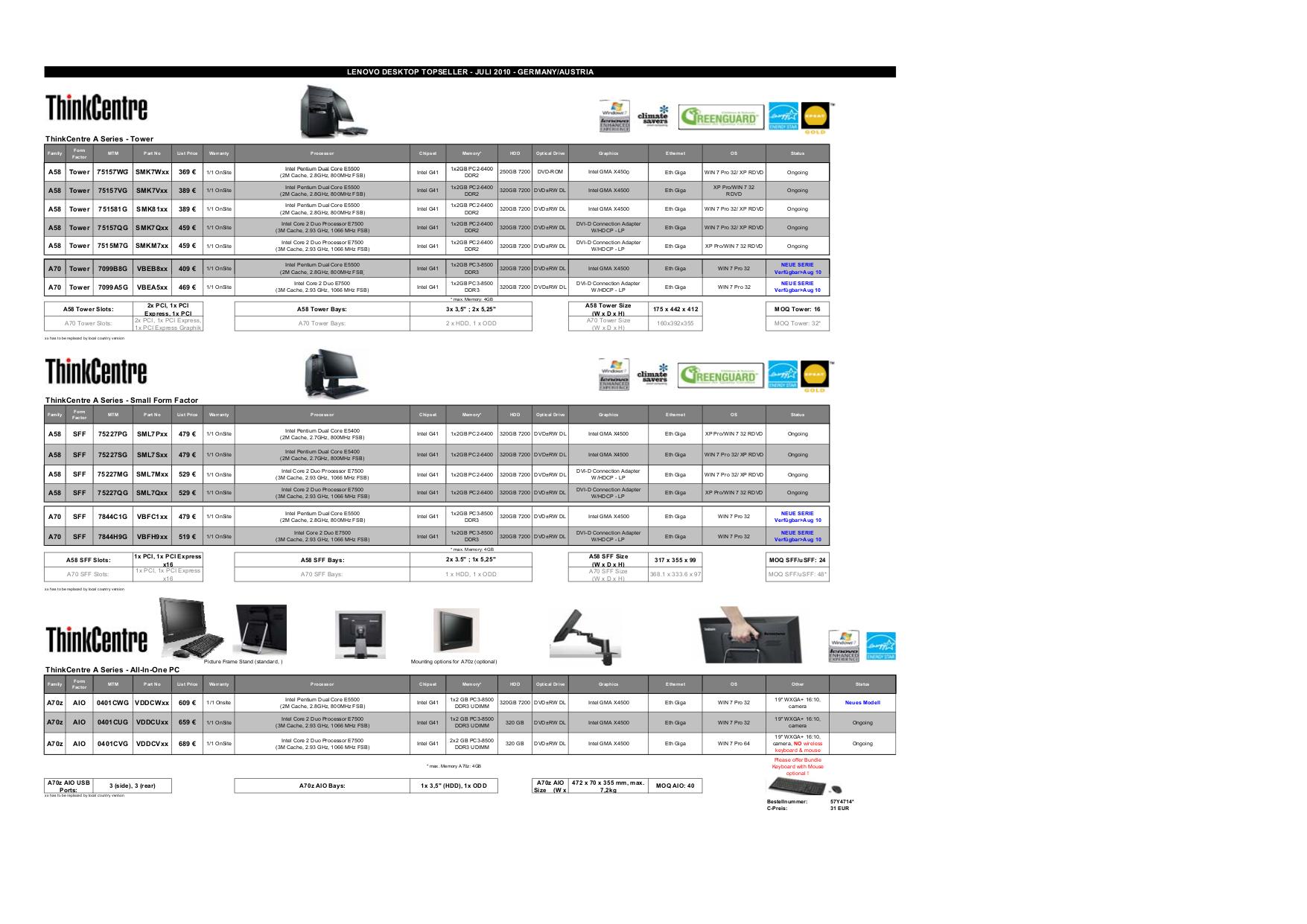 pdf for Lenovo Desktop ThinkCentre M58 4086 manual