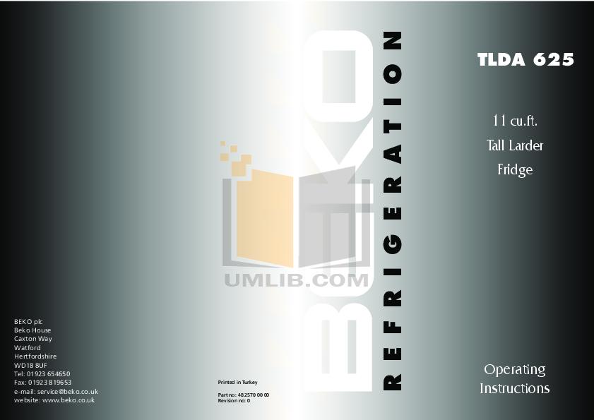 pdf for Beko Freezer TLDA625 manual
