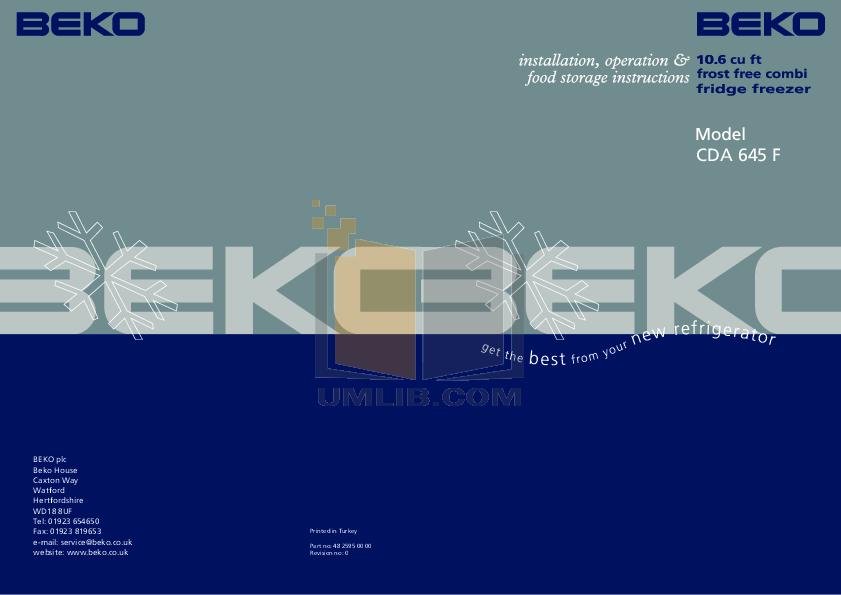 pdf for Beko Refrigerator CDA645F manual