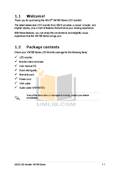 Asus Monitor VW199T pdf page preview