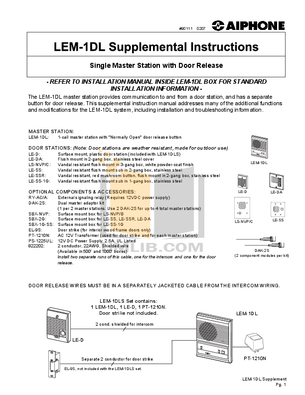 LEM 1DLS Supplement.pdf 0 wat download free pdf for aiphone le da intercoms other manual aiphone lem-1 wiring diagram at bayanpartner.co