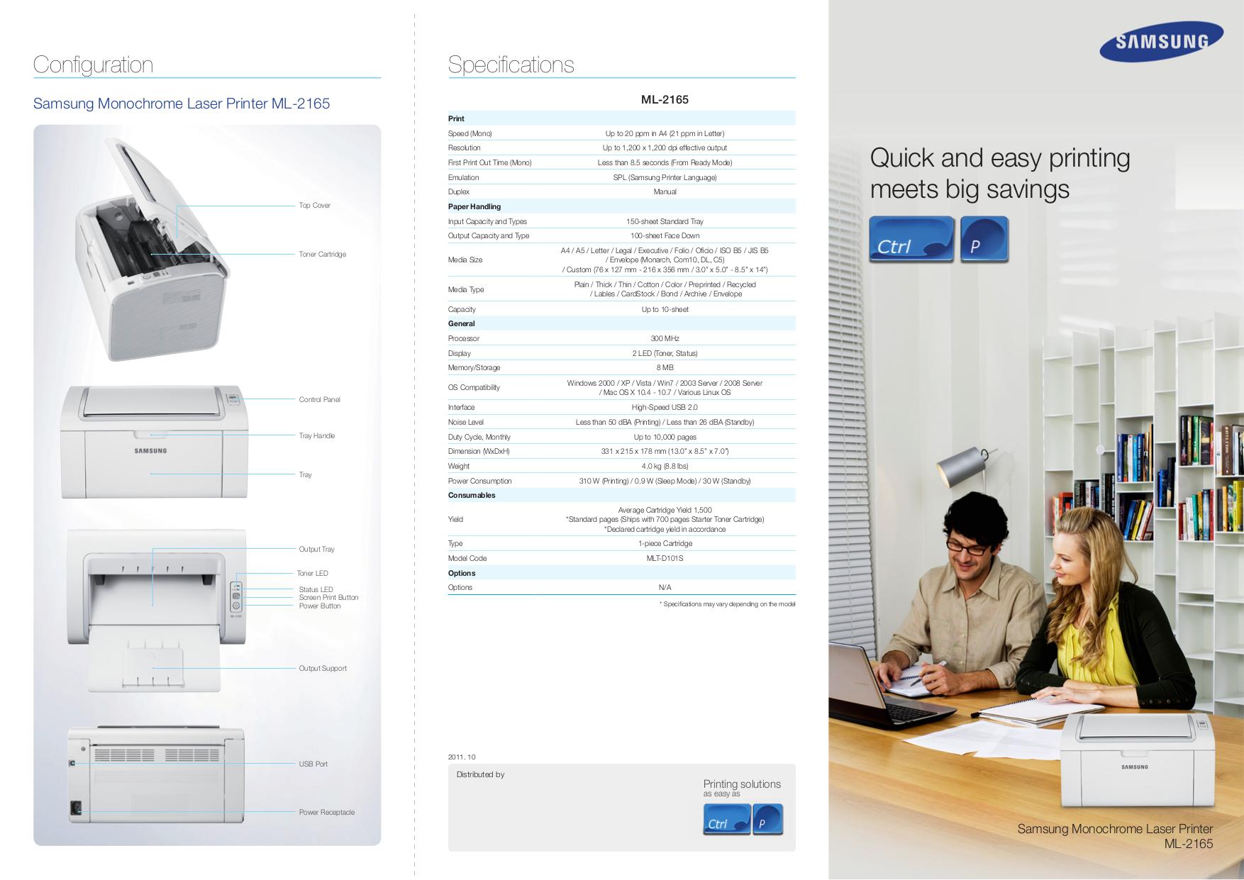 Download free pdf for Samsung ML-2165W Printer manual
