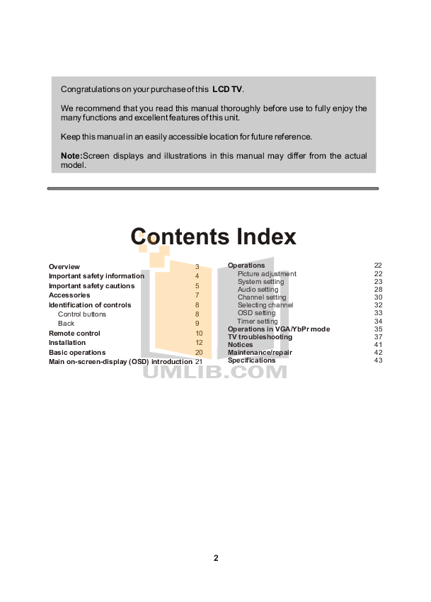 Audiovox TV FPE2000 pdf page preview