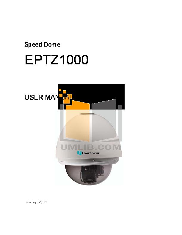 pdf for EverFocus Security Camera EPTZ1000 manual
