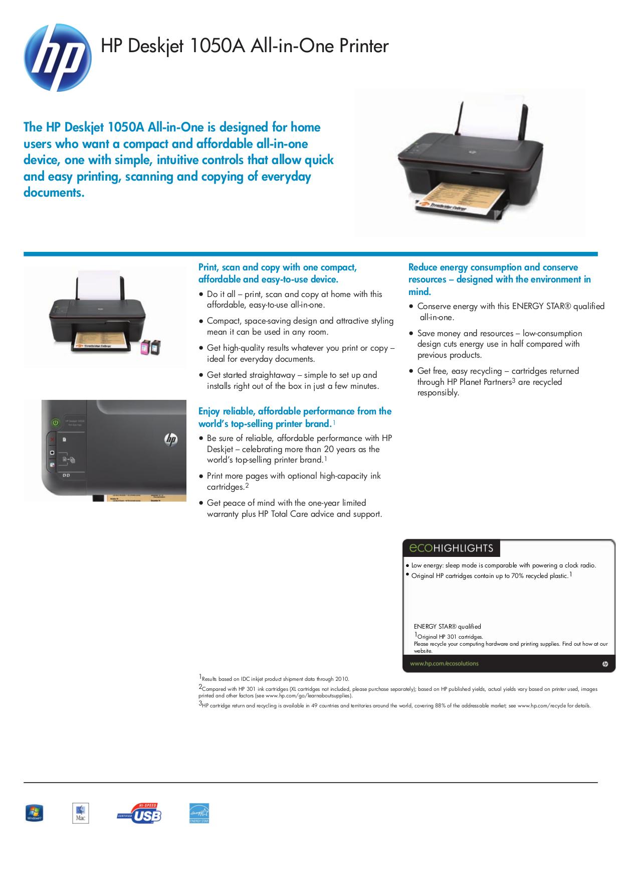 pdf for HP Multifunction Printer Deskjet 1050 manual
