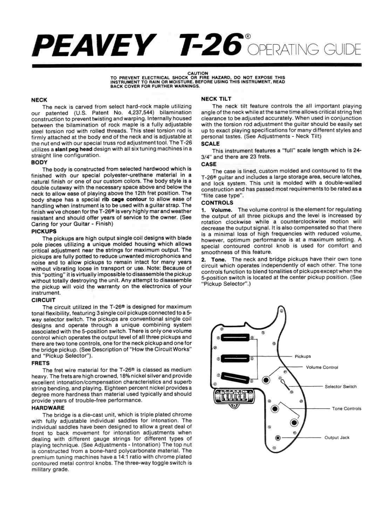 pdf for Peavey Guitar T26 manual