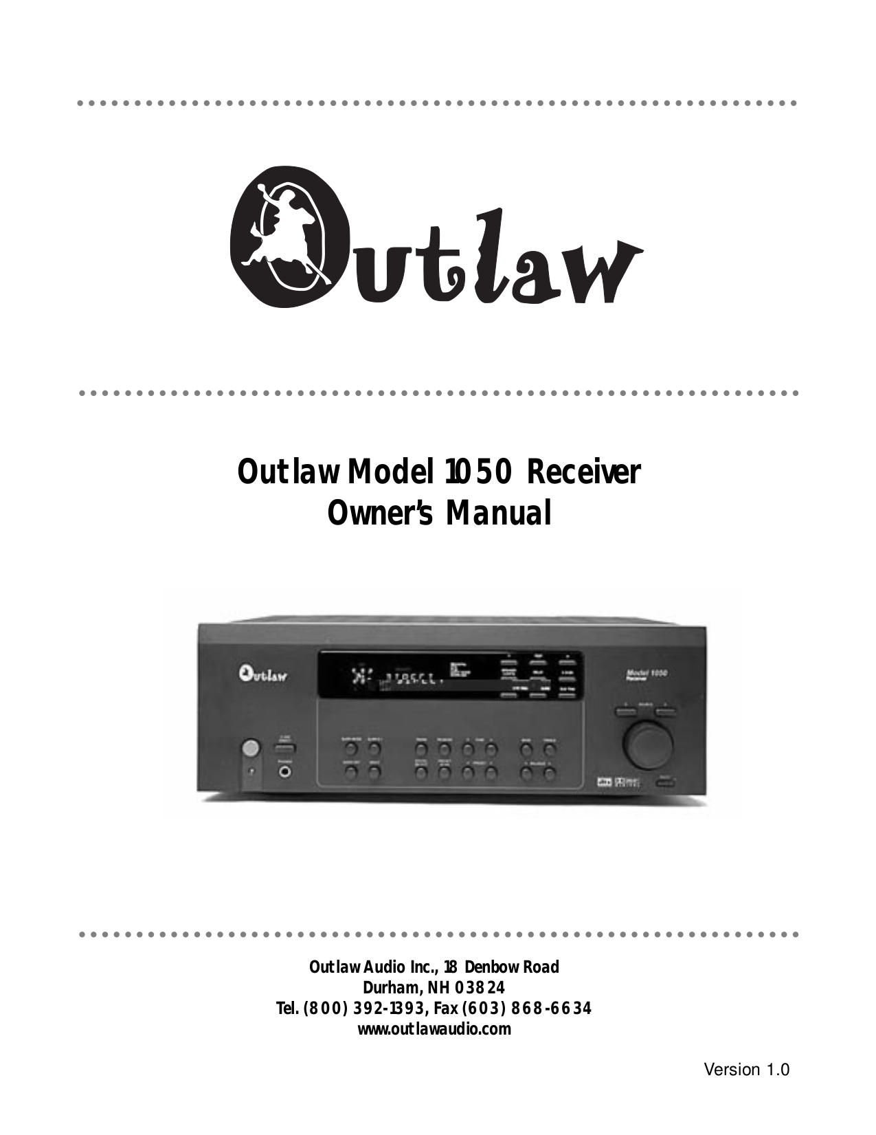 pdf for Outlaw Amp 950 manual