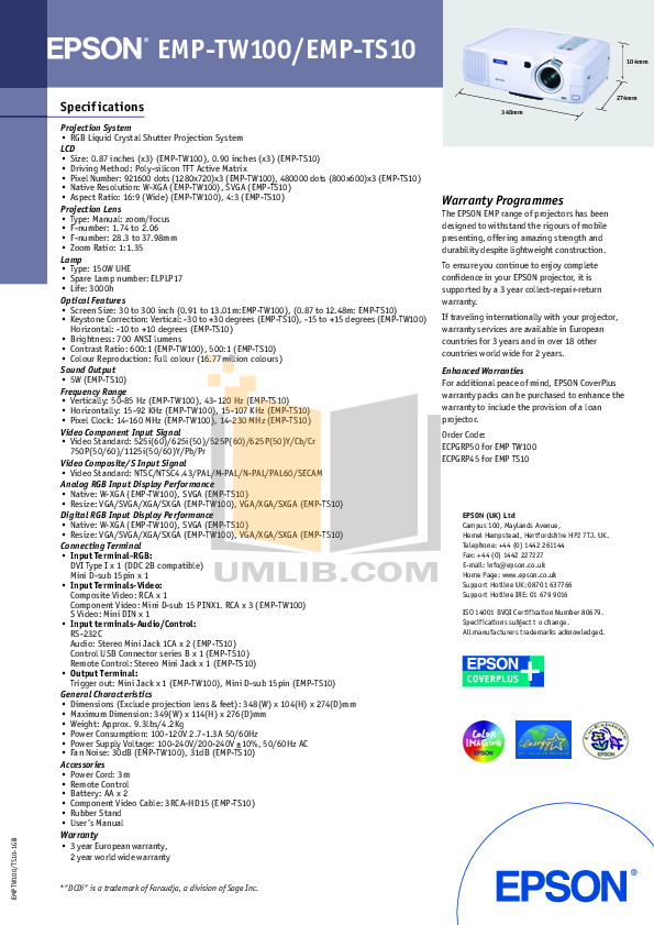 pdf for Epson Projector EMP-TW 100 manual