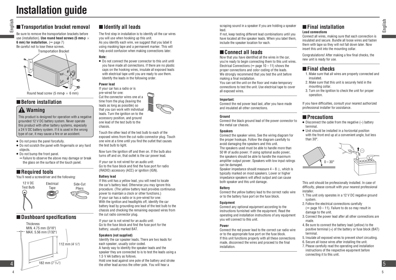 PDF manual for Panasonic GPS Strada CN-NVD905U