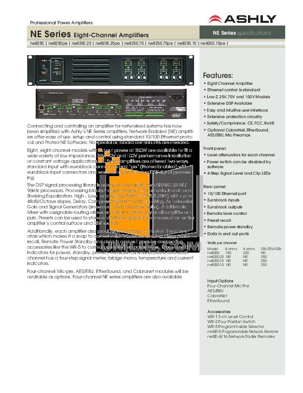 pdf for Ashly Amp NE8250 manual