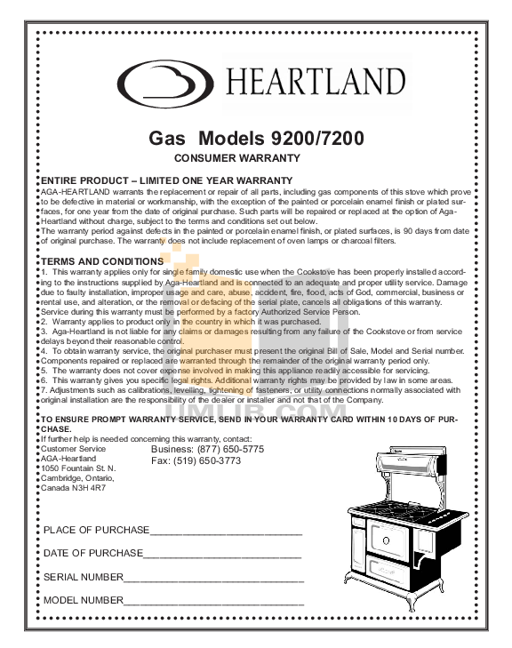 Heartland Range 3805 pdf page preview
