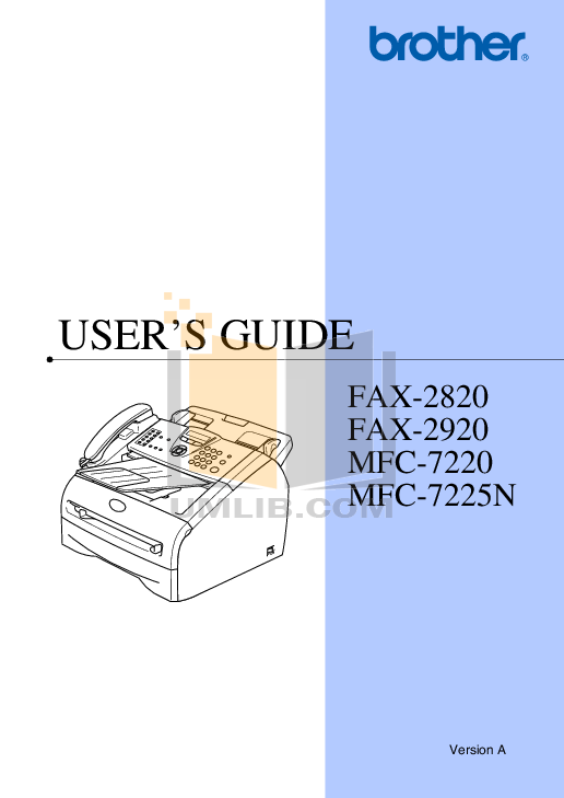 Brother fax-2820 fax-2825 fax-2910 fax-2920 mfc-7220 mfc-7225n serv.