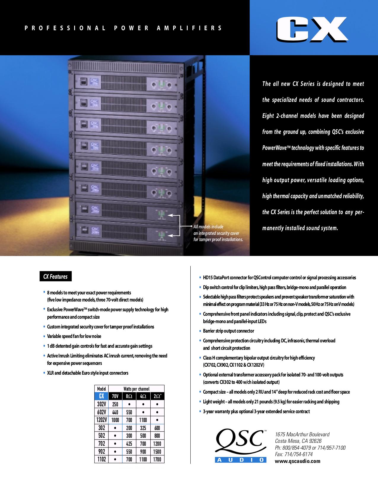 pdf for QSC Amp CX302 manual
