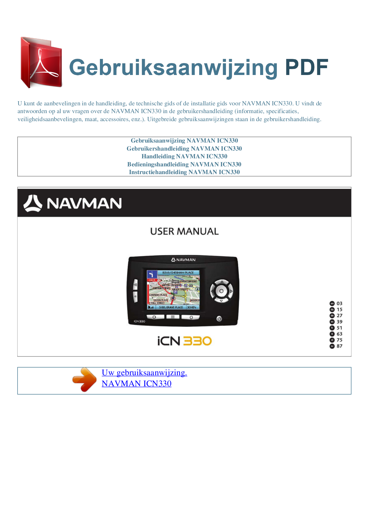 pdf for Navman GPS iCN330 manual