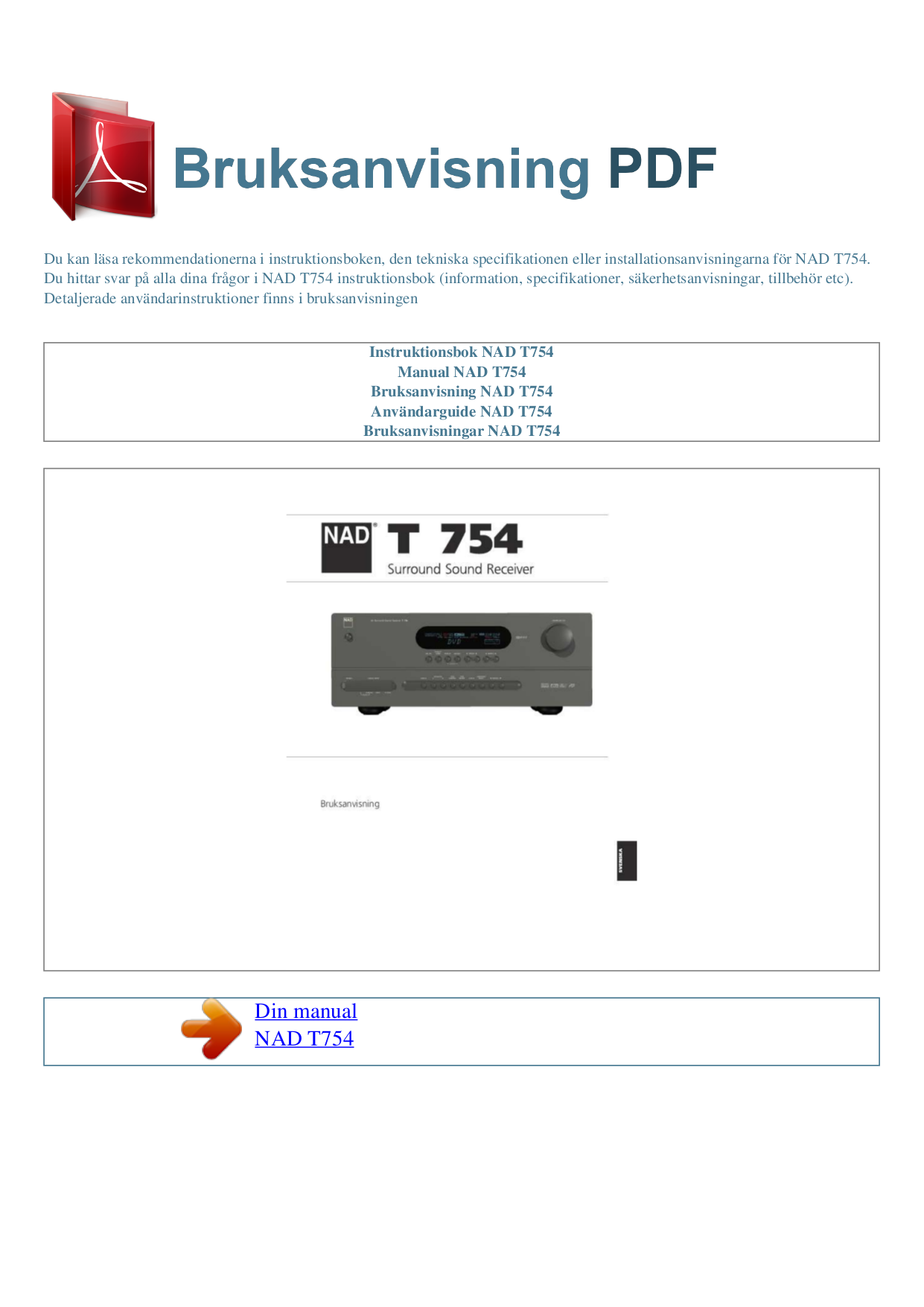 pdf for NAD Receiver T754 manual