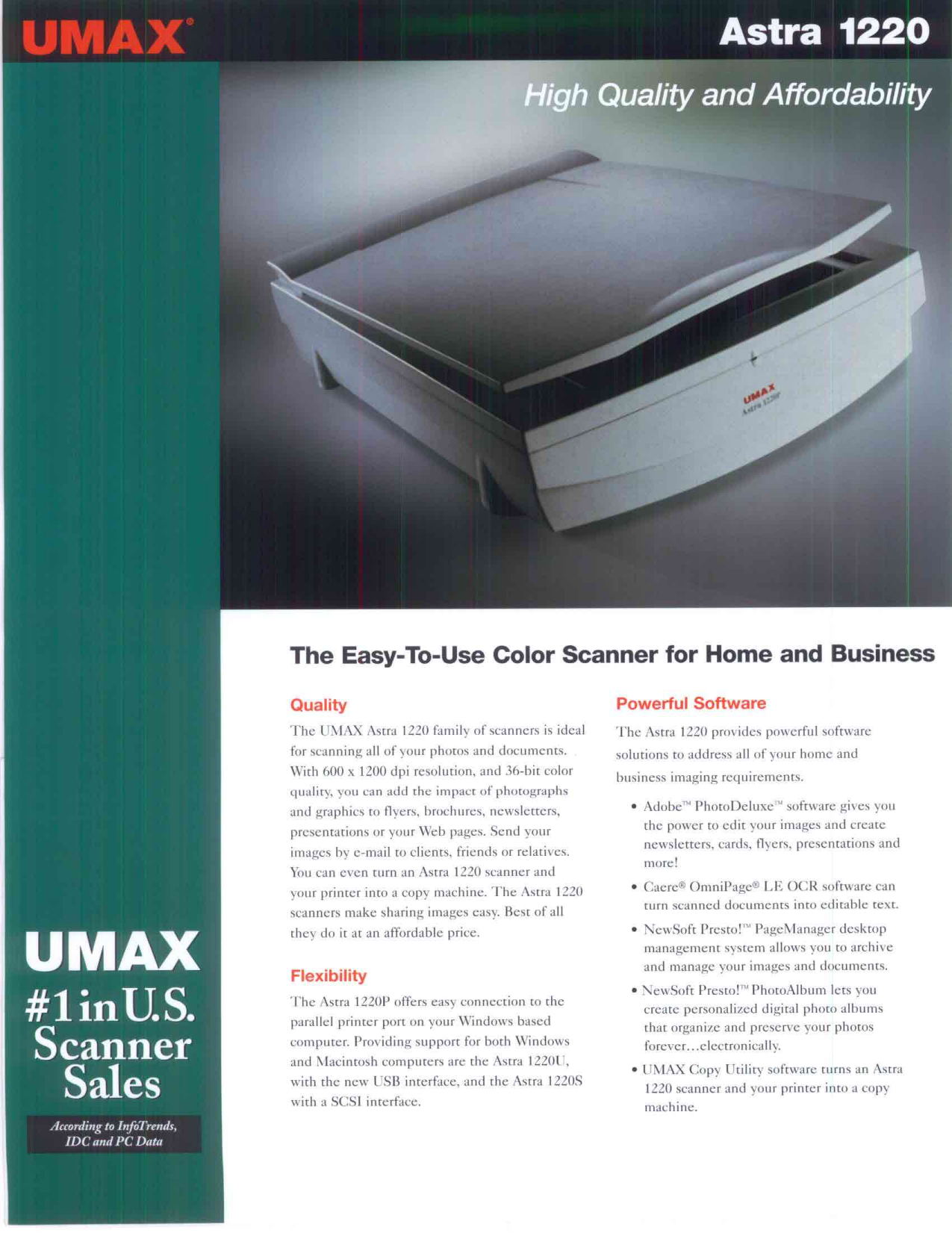 pdf for Umax Scanner Astra 1200S manual