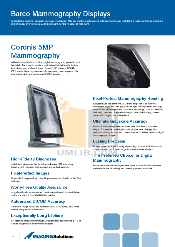 Barco Monitor Coronis 5MP pdf page preview