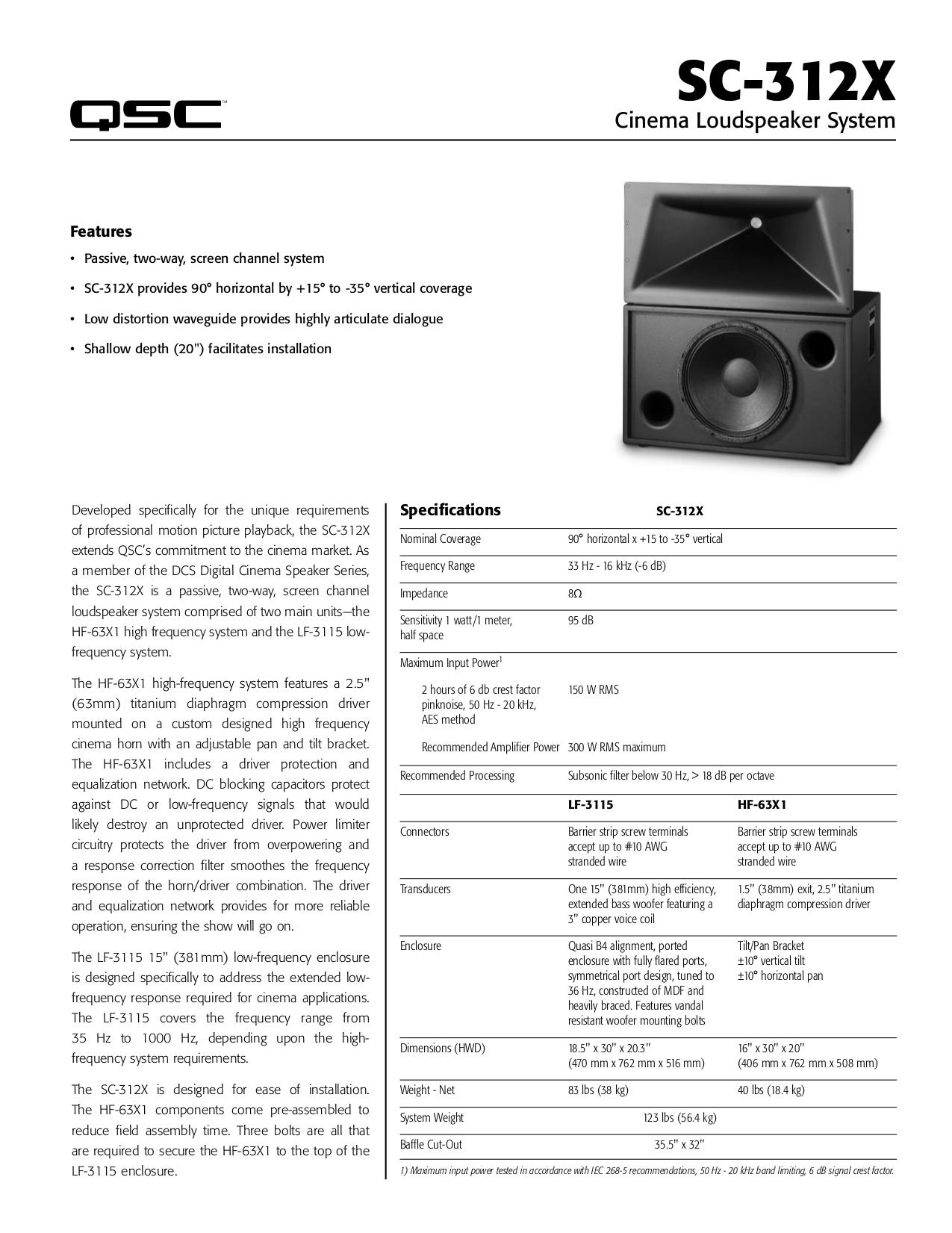 pdf for QSC Speaker SC-312X manual