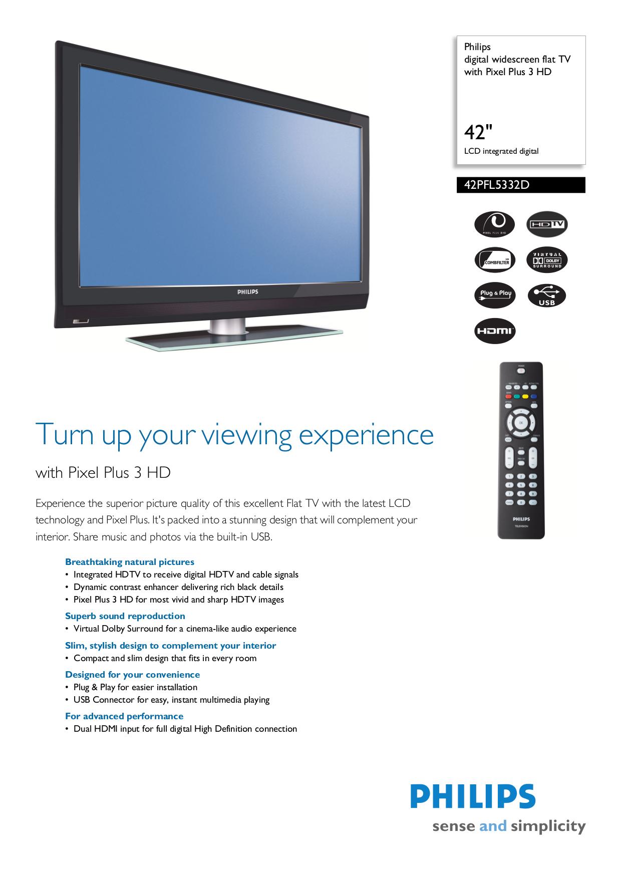 download free pdf for philips 42pfl5332d tv manual rh umlib com Philips 42 TV Connections Philips 42 Inch Plasma TV Remote