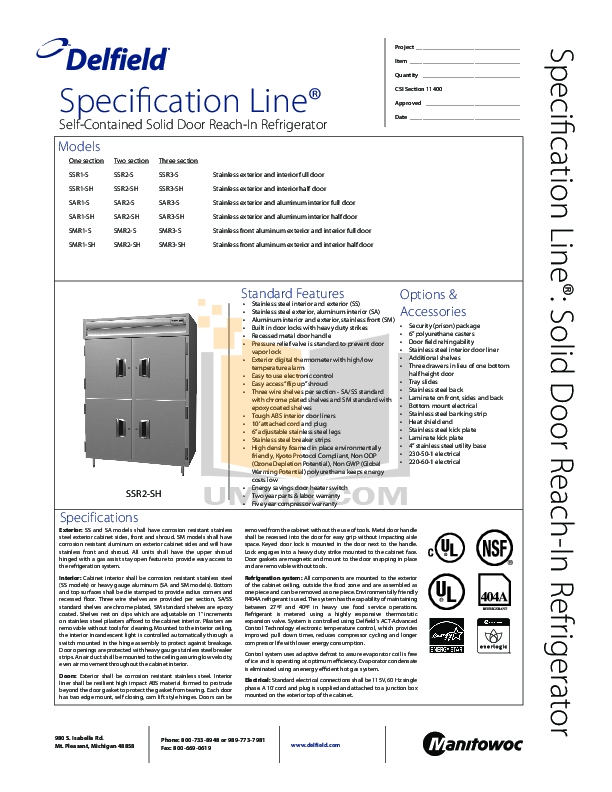 pdf for Delfield Refrigerator SSR2-SH manual