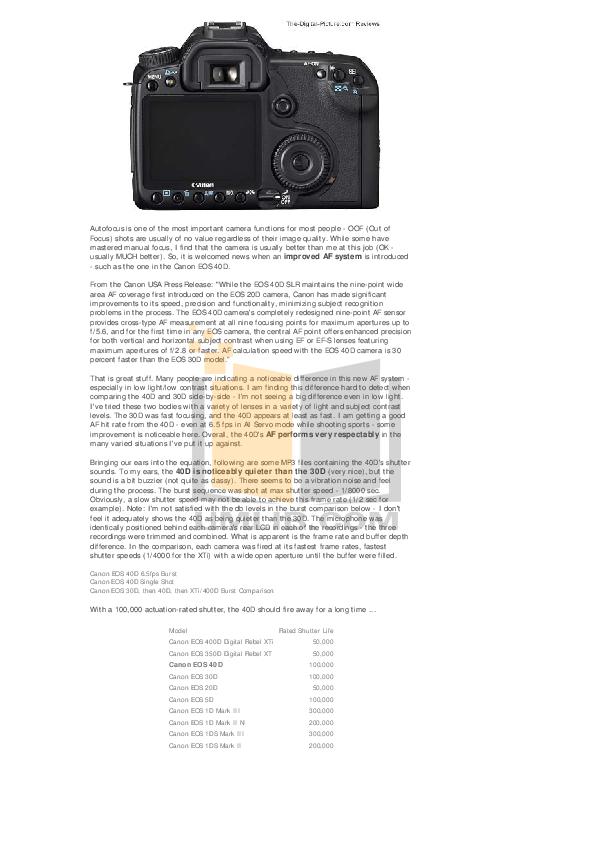 Canon Digital Camera EOS 400D pdf page preview