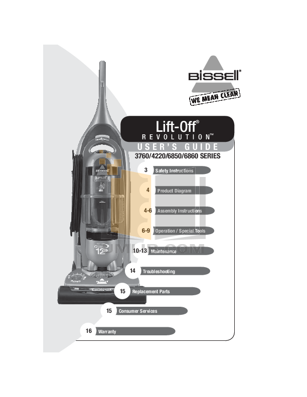 pdf for Bissell Vacuum 6860 manual