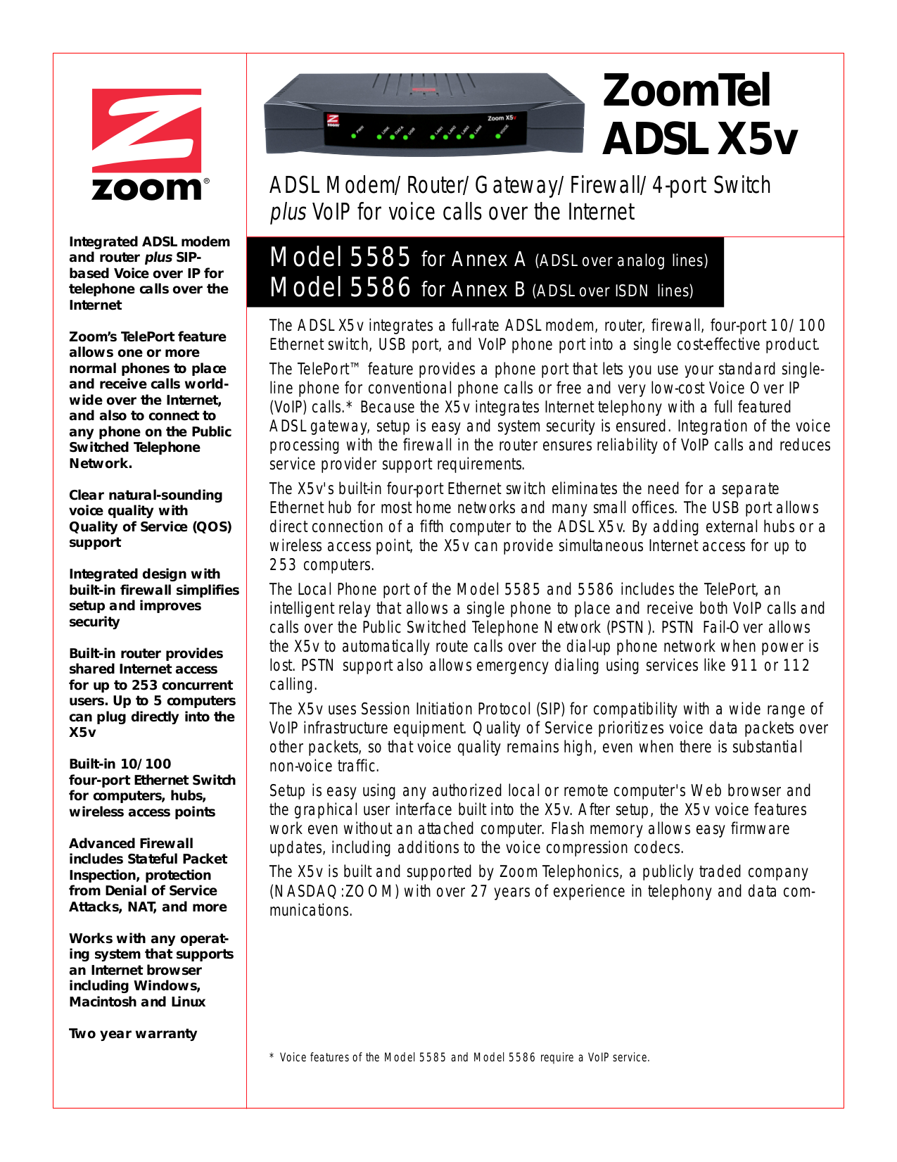 pdf for Zoom Other X5V 5585 Modems manual
