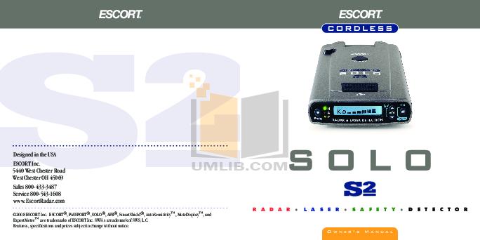 pdf for Escort Radar Detector Solo RD-5110 manual
