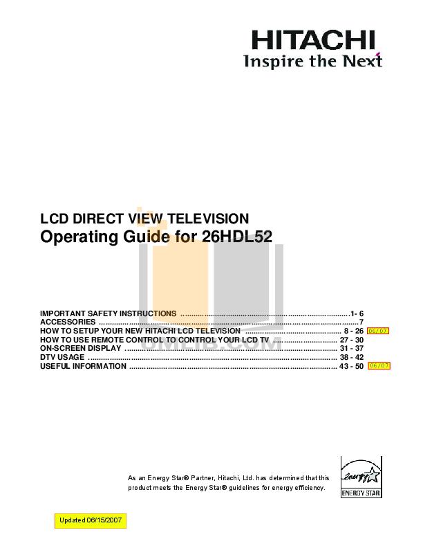 pdf for Hitachi TV 26HDL52 manual