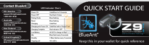 pdf for Blueant Headset Z9 manual