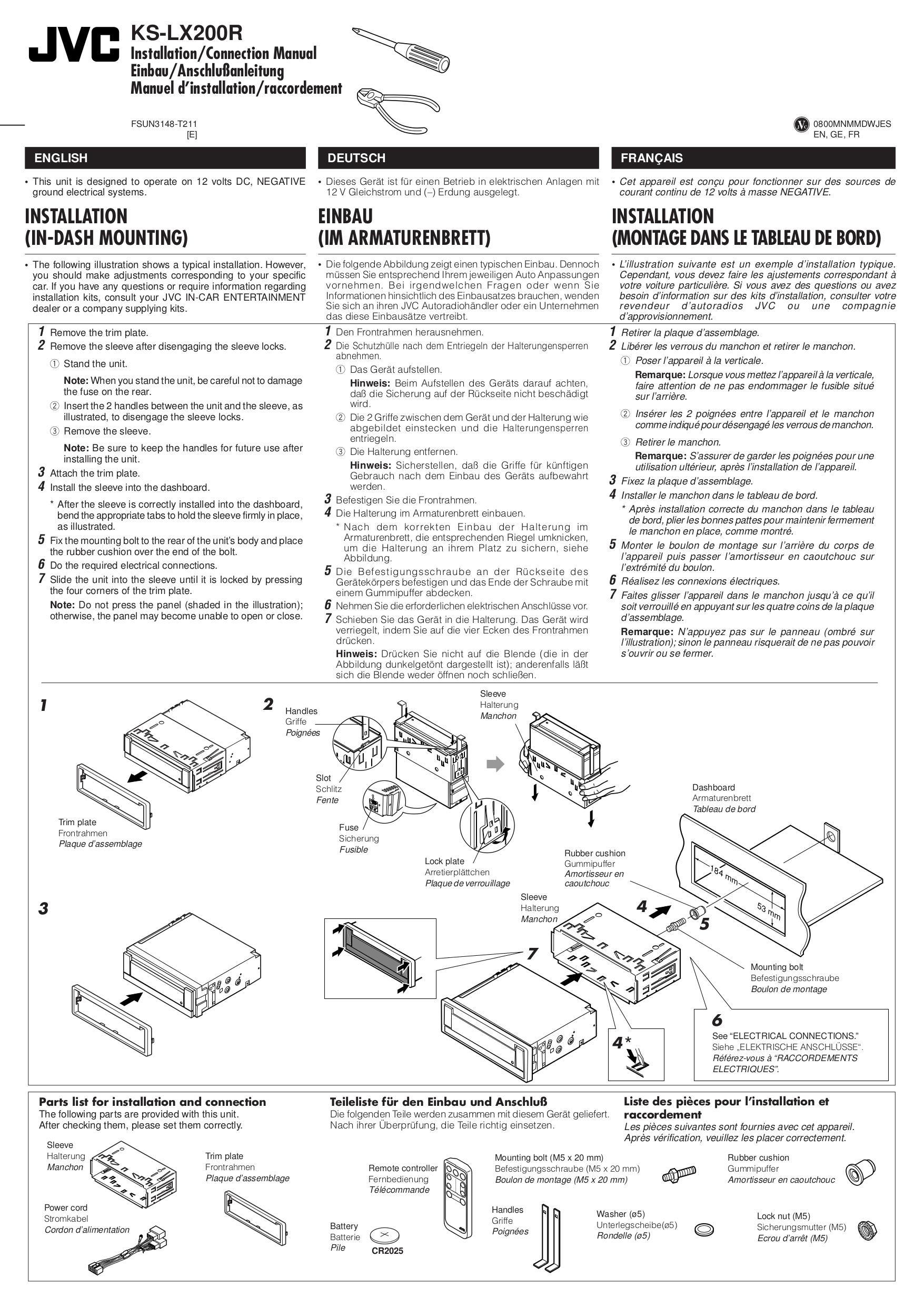 Download free pdf for JVC KS-LX-200R Car Receiver manual