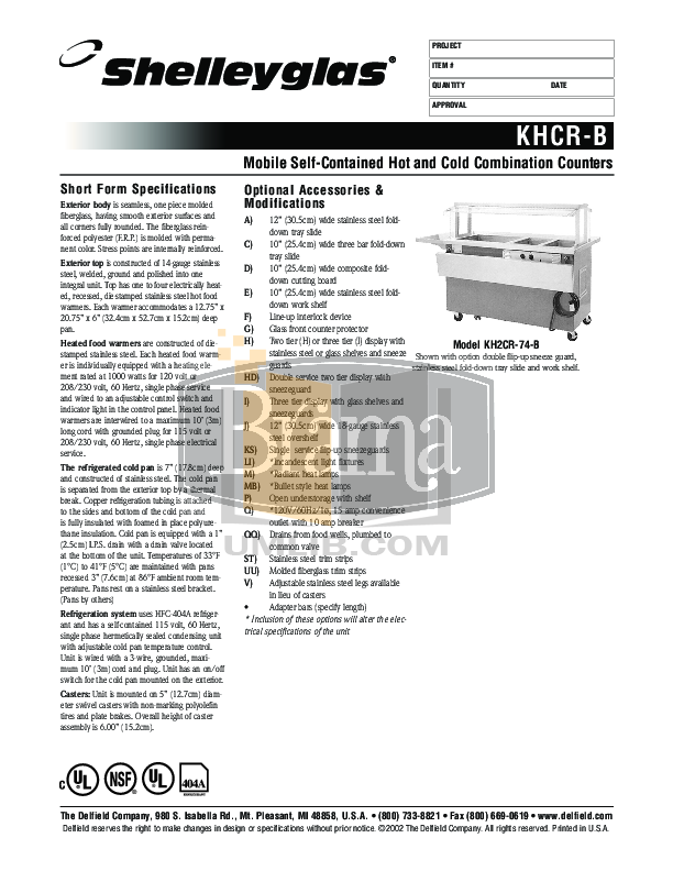 pdf for Delfield Other KH2CR-96B Hot and Cold Counter manual