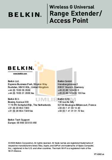 pdf for Belkin Router F5D7132 manual