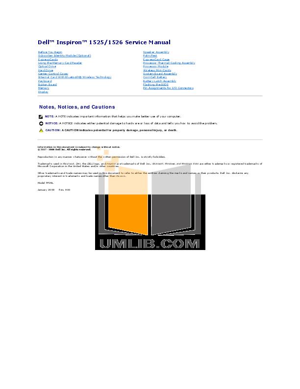 pdf manual for dell laptop inspiron 1526 rh umlib com Dell Inspiron 1526 Drivers dell inspiron 1526 service manual pdf