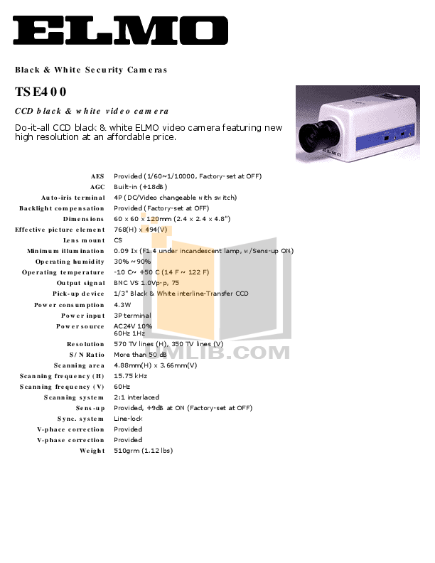 pdf for Elmo Security Camera TSE400 manual