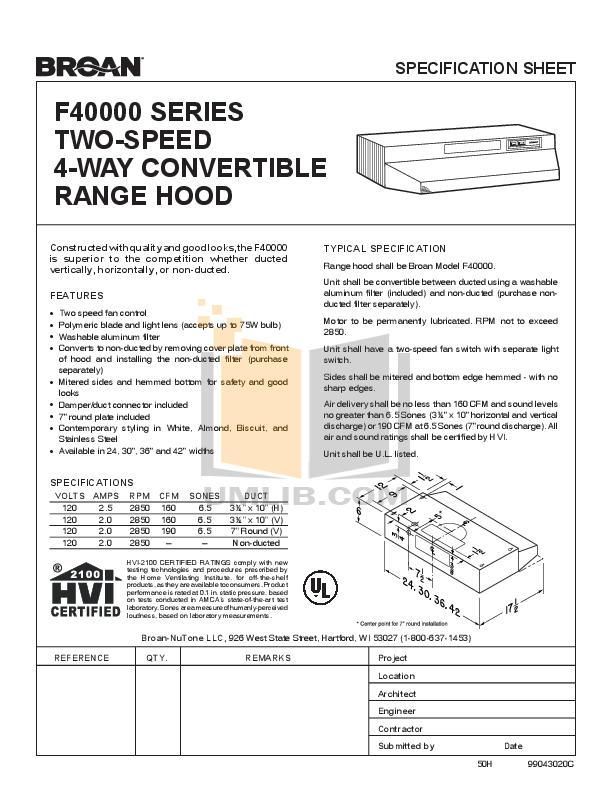 pdf for Broan-NuTone Other F40000 Series F402402 Hoods manual