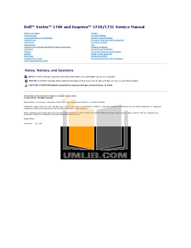 download free pdf for dell vostro 1720 laptop manual rh umlib com inspiron 1720 service manual dell vostro 1720 service manual