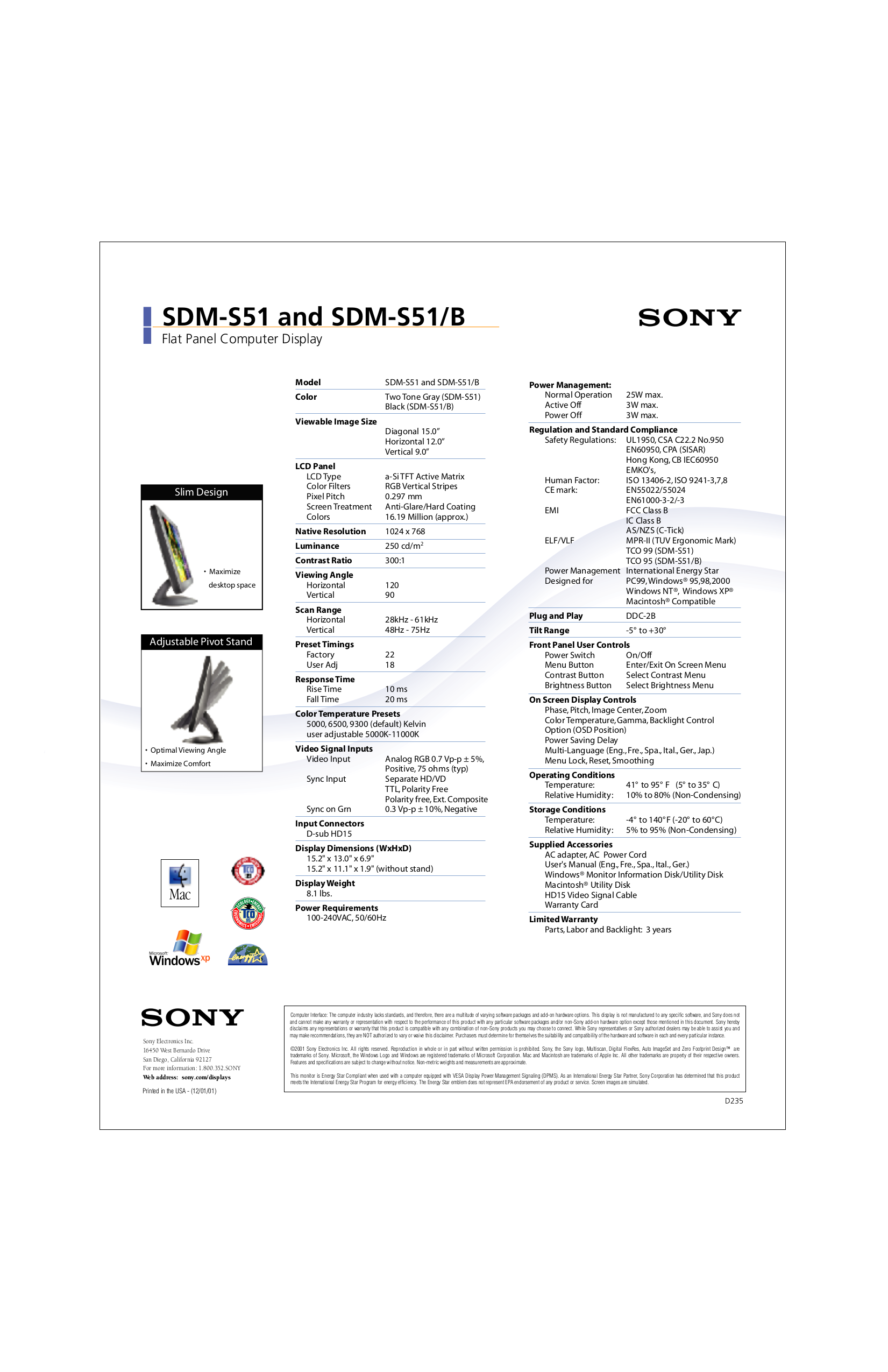 Sony Monitor SDM-S51 pdf page preview