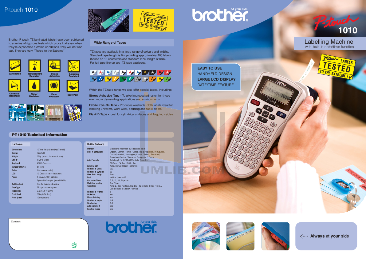 pdf for Brother Printer PT-1010 manual