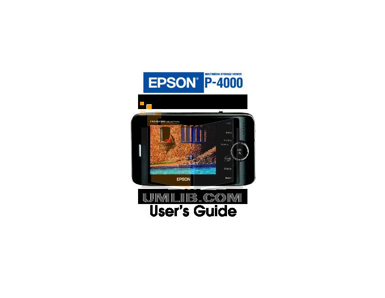 pdf for Epson Digital Photo Frame P-4000 manual