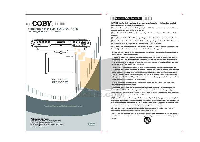 pdf for Curtis DVD Players DVD1093 manual