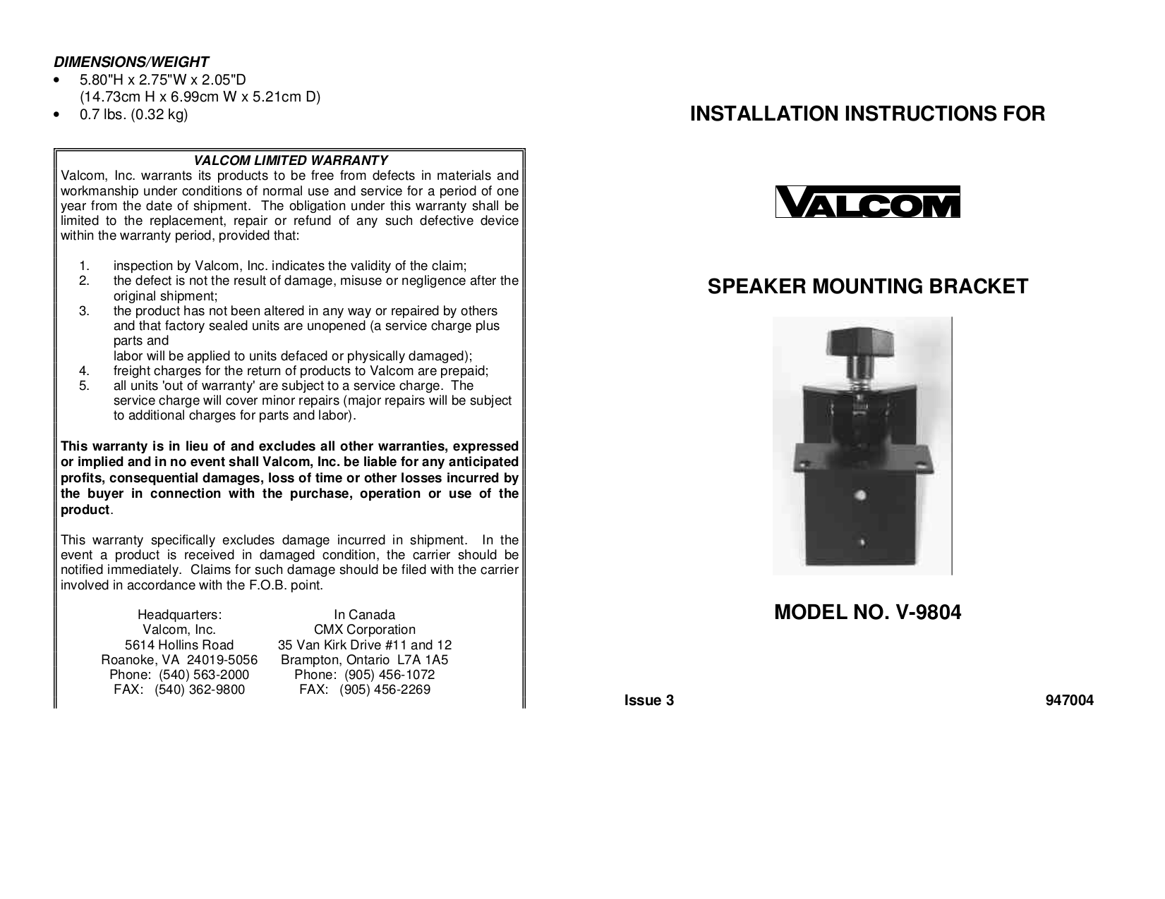 V 9804.pdf 0 download free pdf for valcom v1080 speaker manual  at bayanpartner.co