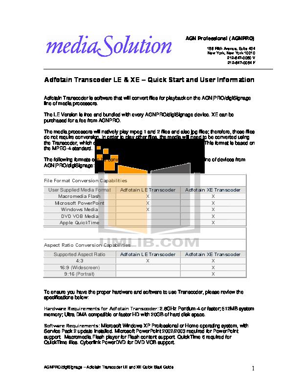 pdf for Agnpro Other miniBox CXP-100 Media Players manual