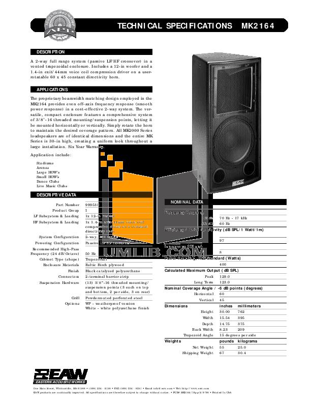 pdf for Eaw Speaker System MK2164e manual