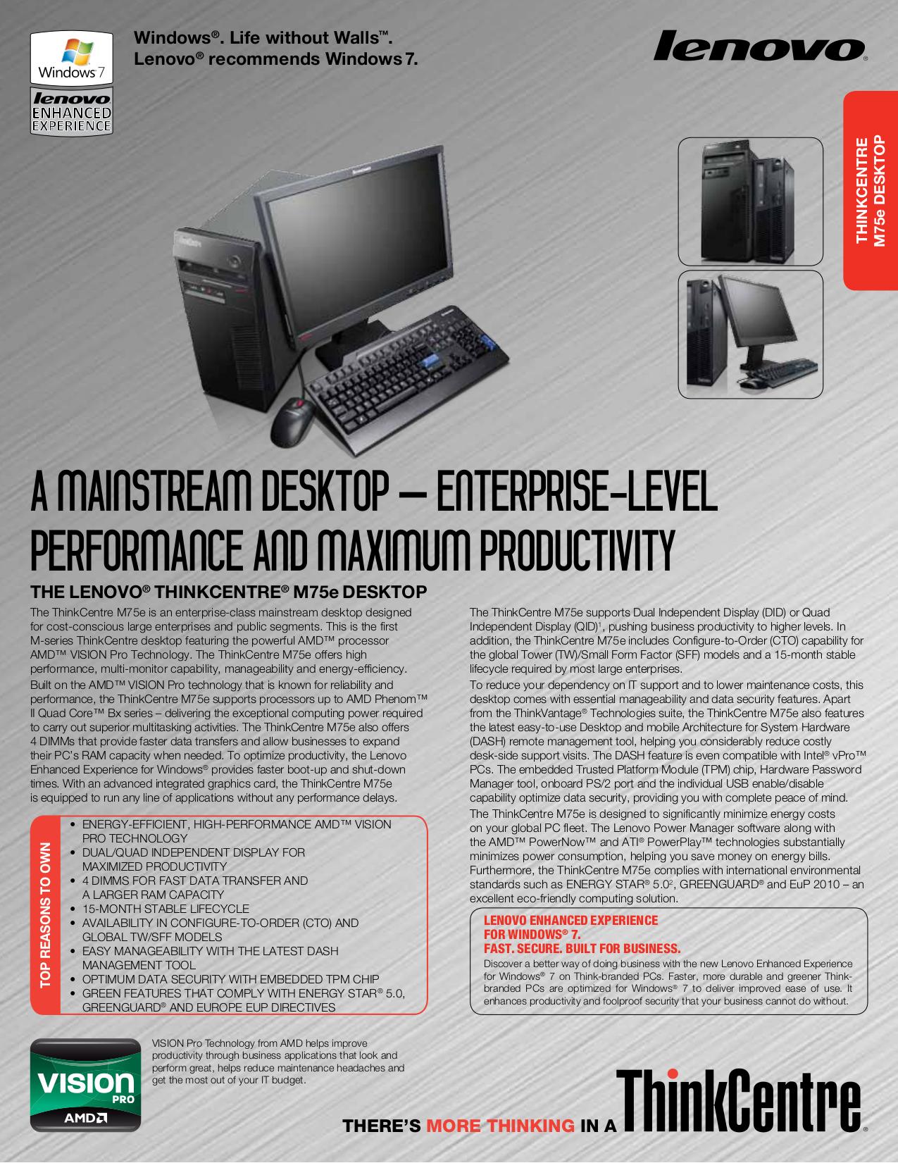 pdf for Lenovo Desktop ThinkCentre M75e 5062 manual