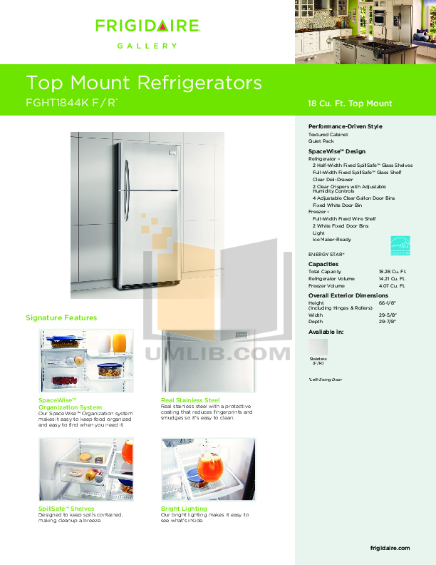 pdf for Frigidaire Refrigerator Gallery FGHT1844KR manual