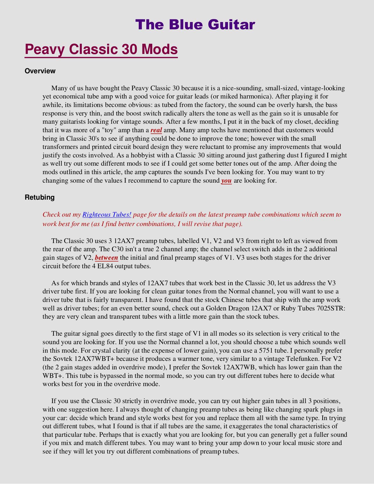 pdf for Peavey Guitar Patriot manual