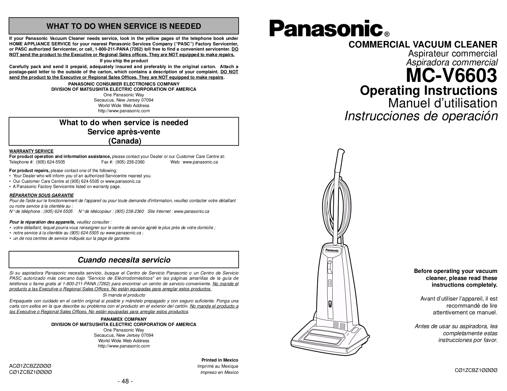 pdf for Panasonic Vacuum MC-V6603 manual