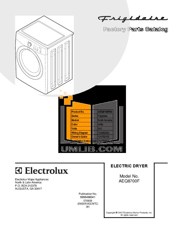 pdf for Frigidaire Dryer AEQ8700F manual