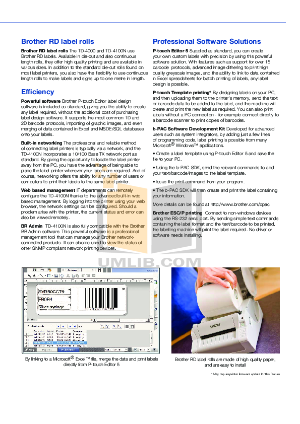 Brother Printer TD-4100N pdf page preview
